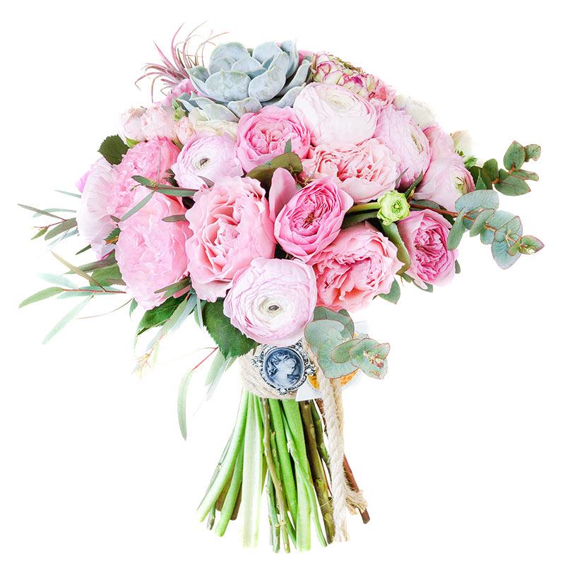 Свадебные букеты из розовых роз и белых ранункулюсов, букет цветов лилии
