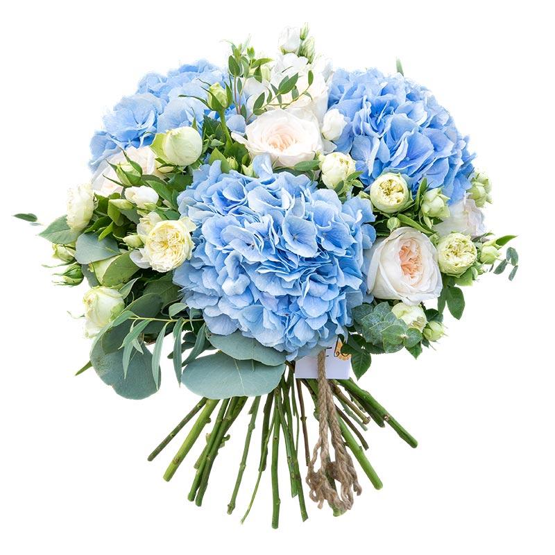 Букет с гортензией и розами фото