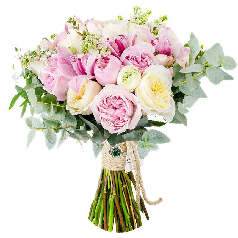 Круглый букет из орхидей и розовых, примула рупрехта цветок купить киев