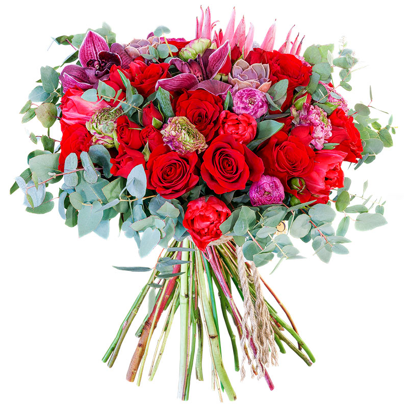 Тюмень доставка, круглый букет из красных роз значение
