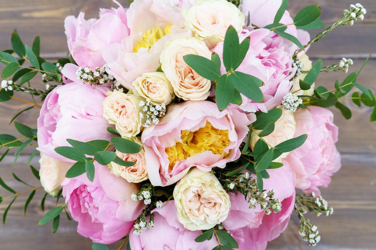Букет фото пион роза